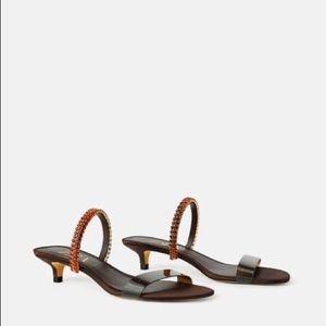 NWT Zara brown embellished Sandals